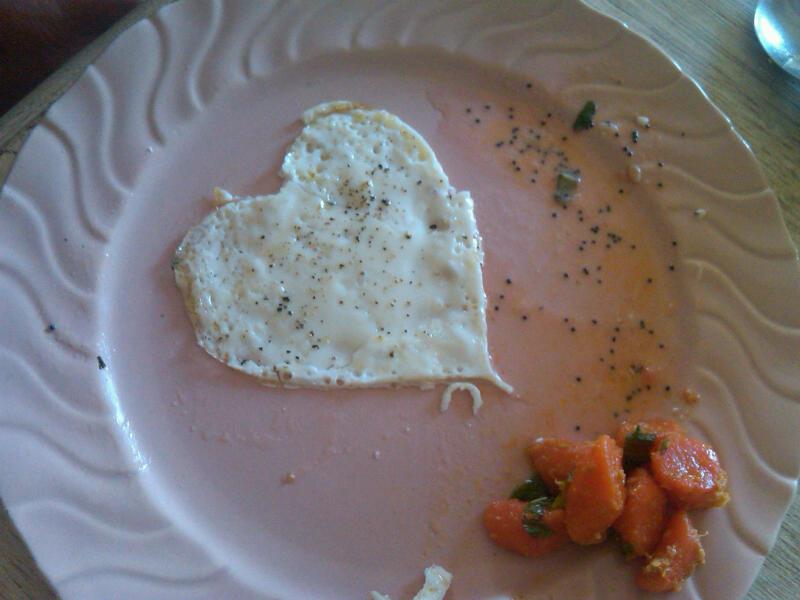 Egg white heart